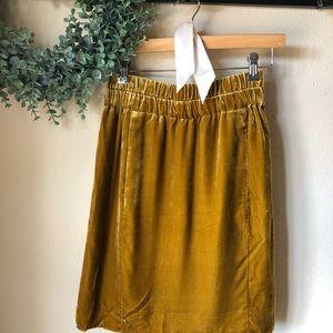 J. Crew Gold Velvet Skirt with Pockets